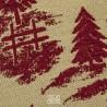 Cuscino arredo beige con motivi montani di cervi e alberi rosso amaranto