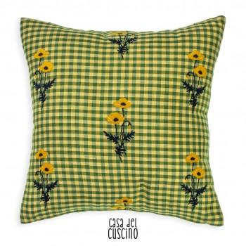 Cuscino arredo quadretti vichy gialli e motivo floreale