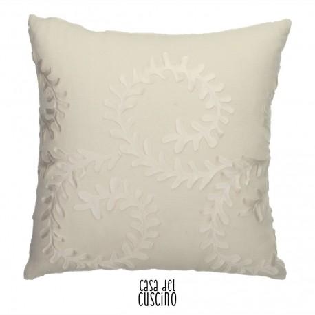 Cuscino arredo bianco avorio con applicazione