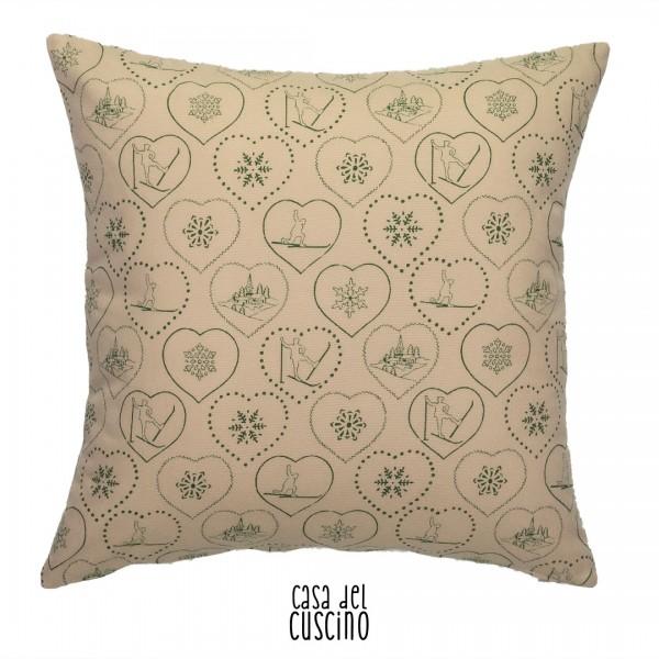Pasubio cuscino arredo invernale beige e verde
