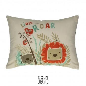 Cuscino arredo rettangolare in cotone per bambini color beige con stampa di leone