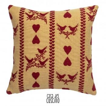 Heart cuscino arredo motivi di cuori e uccellini fondo beige nocciola