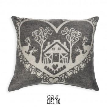 Musinè cuscino arredo grigio con cervo