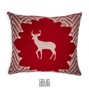 Gorzano cuscino arredo Rosso da montagna con cervo