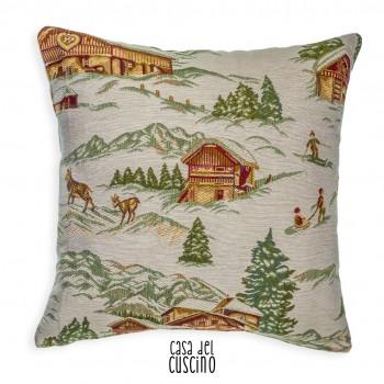 Dolomiti cuscino arredo bianco avorio con disegni