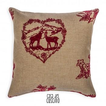 Pollino cuscino arredo beige nocciola motivi rossi