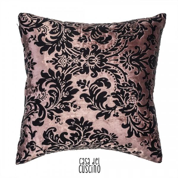 Hera cuscino arredo rosa antico damascato nero