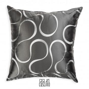 Perla cuscino arredo moderno grigio con motivo a onde