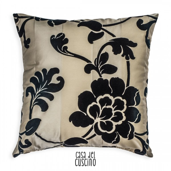 Lucrezia cuscino arredo motivo floreale ramage nero