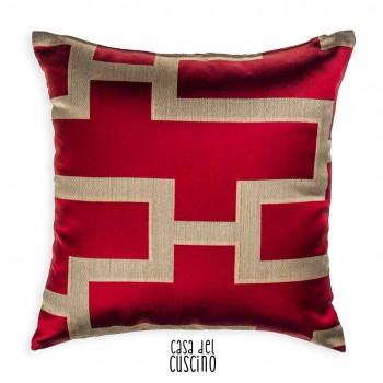 Torre cuscino arredo rosso motivi beige
