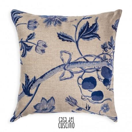 Augusto cuscino arredo beige con motivi floreali blu