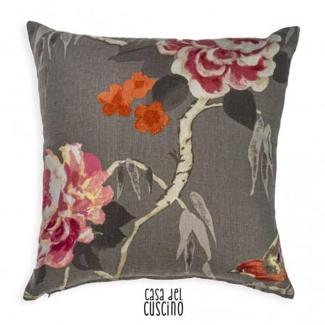 Natura cuscino arredo tortora con motivo floreale