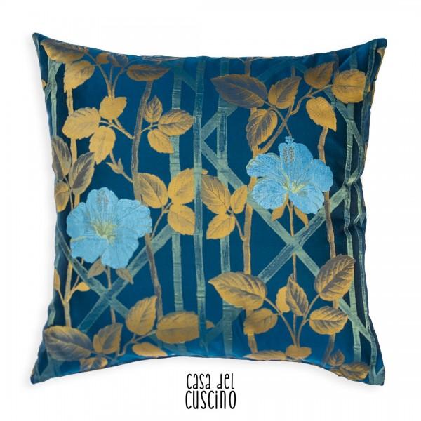 Bambù cuscino arredo blu