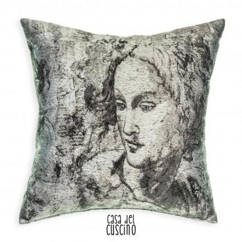 Michelangelo cuscino arredo grigio con volto neoclassico