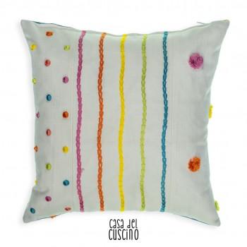cuscino Alena cotone bianco con ricami colorati