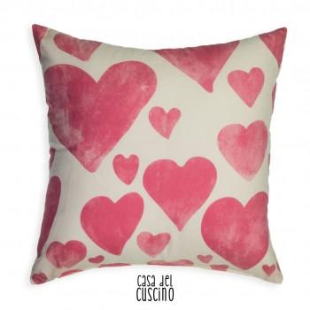 Daisy cuscino bianco cuori rosa