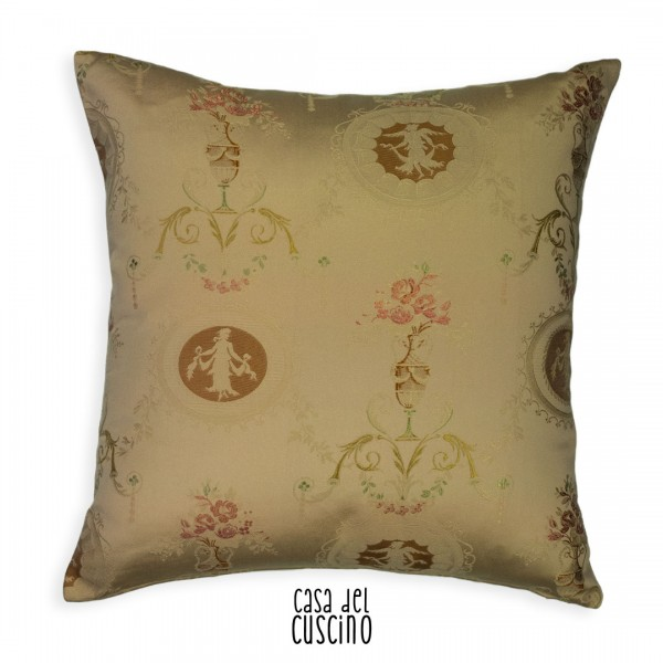 Cuscino arredo Partenone colore beige motivi greco romani