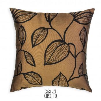 Flora cuscino nero e marrone ramage