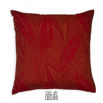 Foliorum cuscino rosso con leggero motivo di foglie ricamate
