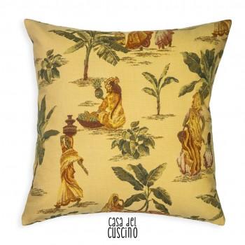 cuscino Africa arredo giallo crema con stampe di donne