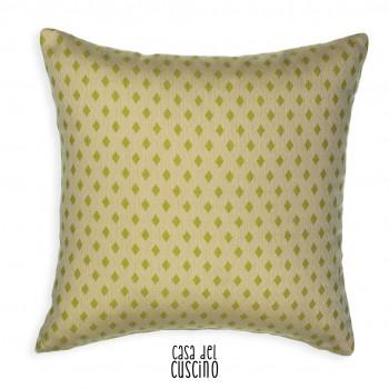 cuscino arredo beige ecrù con piccole losanghe verde pistacchio