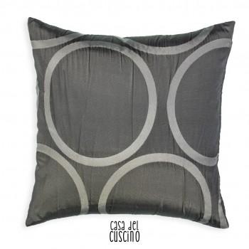 cuscino arredo moderno grigio con grossi cerchi grigio chiaro