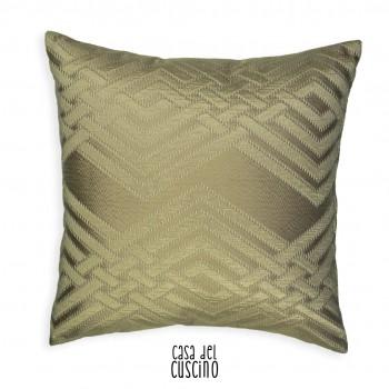cuscino arredo beige semi lucido con motivi geometrici in rilievo tono su tono