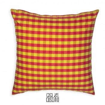 Quadrotto cuscino vichy giallo e rosa acceso