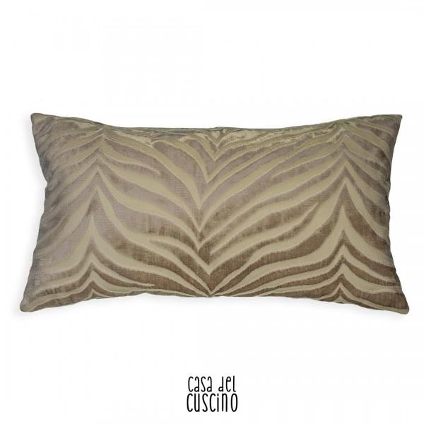 cuscino arredo rettangolare in velluto zebrato beige e avorio