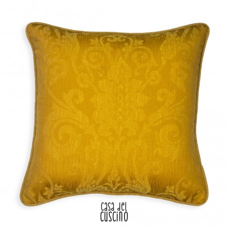 cuscino arredo classico giallo oro con motivo damasco