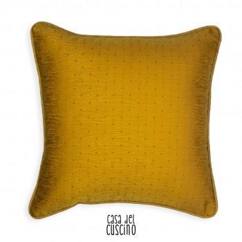 cuscino arredo giallo con motivo di petit pois ton sur ton