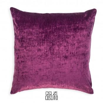 Alberta cuscino a righe colorate fluo e retro tinta unita viola in velluto