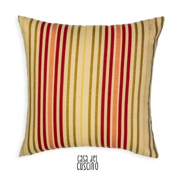 Cuscino arredo beige con righe colorate verde e rosso