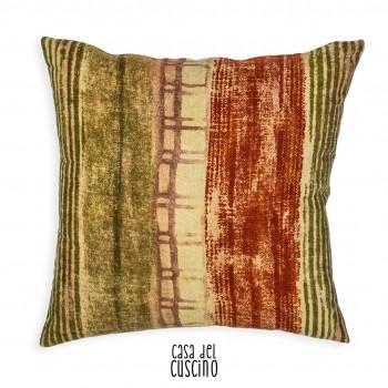 Cuscino arredo con righe e motivi astratti verde scuro e Rosso mattone
