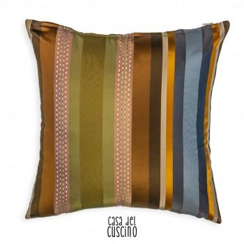 Clio cuscino arredo a righe colorate verde, marrone e arancione