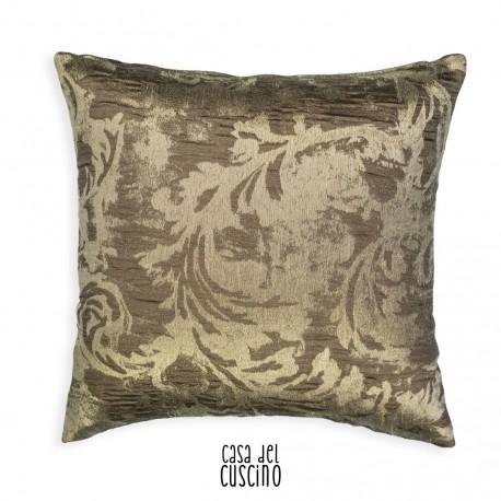 Luna cuscino arredo con motivo ramage beige dorato su fondo grigio tortora