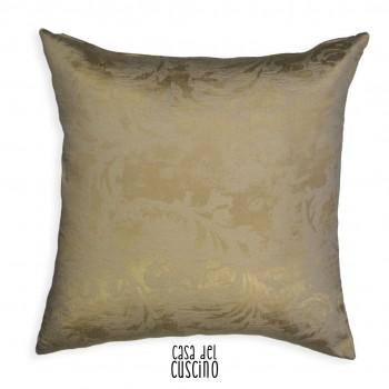 Lunetta cuscino arredo con motivo ramage avorio su fondo beige dorato