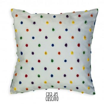 Alida cuscino arredo bianco con applicazione di pon pon colorati