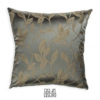 Laurel cuscino arredo grigio-verde motivo ramage di foglie