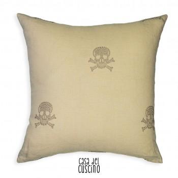 Cuscino arredo moderno color avorio con teschi ricamati platino e retro tinta unita nero