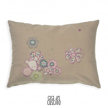 Lillo cuscino arredo in cotone beige con fiori e pois colorati