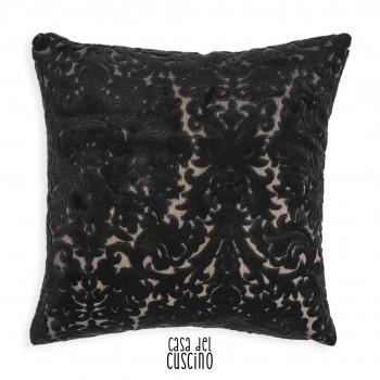 Gothik cuscino arredo in velluto nero damascato