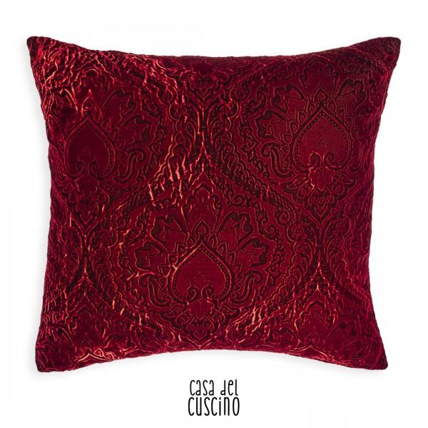 Cuscino Ayda velluto rosso cupo imprimè