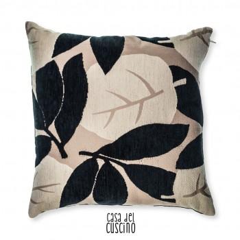 Leaf cuscino arredo con motivo di foglie beige e nero
