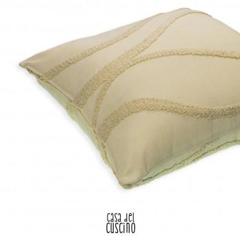 Thalia cuscino arredo beige in lino con motivo wave in pura lana bouclé ton sur ton