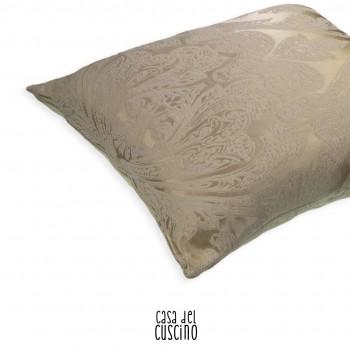 Maestoso cuscino arredo beige dorato con ricamo avorio