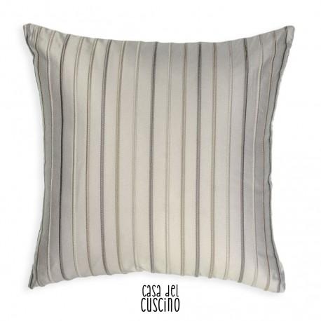 Irona cuscino arredo bianco avorio con righe ricamate in tinte neutre