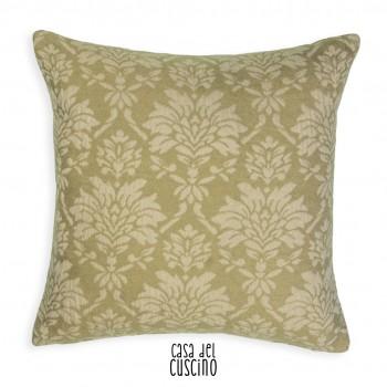 Marmodala cuscino arredo in misto lana verde salvia con motivi floreali bianchi